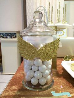 Liz T's Baptism / Angel / Heaven - Photo Gallery at Catch My Party First Communion Decorations, Baptism Decorations, Baby Shower Decorations, Balloon Decorations, Girl Baptism Party, Baby Boy Christening, Angel Baby Shower, Baby Boy Shower, Baby Shower Parties