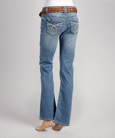 Love this Wallflower Clothing Company Medium Mascot Destructed Bootcut Jeans - Women by Wallflower Clothing Company on #zulily! #zulilyfinds