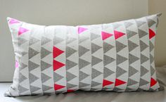 "Mountains of Montana - neon pink and grey triangle pattern organic pillow, hand printed, 14"" x 24"". $52.00, via Etsy."