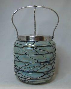 Antique Iridescent Threaded Art Glass Loetz Palme Konig Biscuit Cracker Jar | eBay