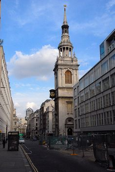 St Mary le Bow    Wren's church was built after the Fire which destroyed the medieval church and its Tudor tower.   Like many City churches it had to be rebuilt again after the Blitz. However planners then were prepared to replicate the Wren version.