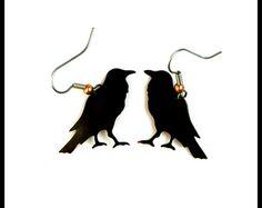 Krähe Ohrringe Raven Ohrringe Krähe Schmuck Corvus Schmuck