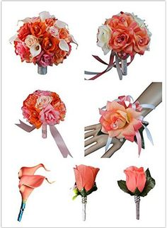 17pc Bridal Party Wedding Flowers-bouquet,corsage,boutonnieres