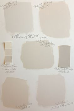 Paint Color Options - Behr Cotton Grey, Wheat Bread, Sculptor Clay, Aged Beige and Mineral shown with BM Revere Pewter and Behr Perfect Taupe #greige #neutrals