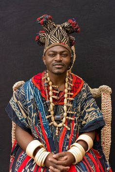 Africa | Fo Sikam Happi V. de Bana (King of Bana). West Province of Cameroon