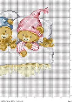 bedtime bears page 3 of 3 Cross Stitch For Kids, Cross Stitch Boards, Cross Stitch Baby, Cross Stitch Animals, Baby Embroidery, Cross Stitch Embroidery, Cross Stitch Designs, Cross Stitch Patterns, Baby Motiv