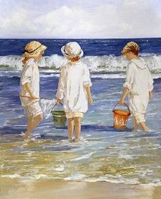 Shell Collecting - Newport Beach by Sally Swatland - 32 x 26 inches Signed impressionist beach scenes children playing contemporary american chase pothast Paintings I Love, Norman Rockwell, Beach Scenes, Beach Art, Oeuvre D'art, Watercolor Paintings, Painting Art, Watercolors, Landscape Paintings