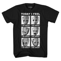 Boys Groot Feelings Tee, Size: XL, Black Get posters of famous people plus other current deals. Cute Quotes For Kids, I Am Groot, Dc Memes, Its A Wonderful Life, Guardians Of The Galaxy, Funny Shirts, Brand Names, Graphic Tees, Cute Outfits