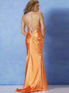 2012  Style Sheath / Column Halter  Rhinestone Sleeveless Floor-length Elastic Woven Satin Orange Prom Dress / Evening Dress
