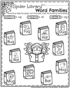 Kindergarten Worksheets for October - Spider Library Word Families Narrative Writing Prompts, Kindergarten Writing Prompts, Kindergarten Math Worksheets, Kindergarten Readiness, Halloween Worksheets, Halloween Activities, Halloween Ideas, Rhyming Words, Word Families