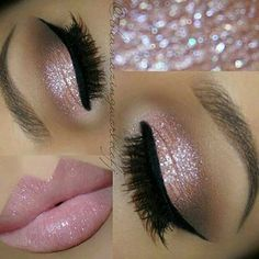 31 Beautiful Wedding Makeup Looks for Brides Pink Glitter Eyes + Pink Lips Glitter can be a girl's best friend, especially on her wedding day. Wedding Eye Makeup, Wedding Makeup For Brunettes, Makeup For Blondes, Hair Wedding, Wedding Nails, Glitter Wedding, Dramatic Bridal Makeup, Wedding Beauty, Wedding Bride