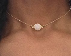 Gold Choker Necklace Gold Druzy Necklace Gold Choker Chain White Druzy Choker Gold Chocker Collar Necklace Dainty Gold Choker Druzy Jewelry