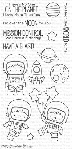 My Favorite Things - SPACE EXPLORER - Companion Stamp The Space Explorer stamp set from Birdie Brown is out of this world! Three adorable astronauts in three di