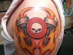 harley davidson colorful tattoo 35 Groovy Harley Davidson Tattoos