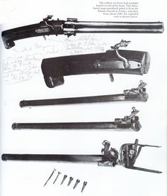 The only known 16th c.European matchlock pistol, with three manually turned barrels, which actually makes it a matchlock revolver. Each barrel is fitted with its own pan and pivoting cover, plus rear sight with an additional tube and bead foresight; no provision for a trigger guard. North Italian (Brescian?) style, ca. 1530's, and preserved in the Doges Palace Venice, inv.no. B 83: 53 cm long overall.