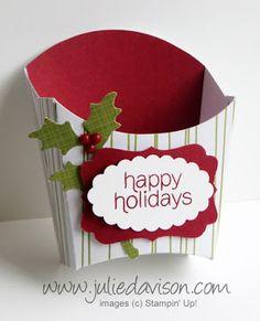 November 2015 Paper Pumpkin Alternative Ideas - Mistletoe & Holly Cards + Fry Box for Christmas #stampinup www.juliedavison.com