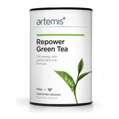 The certified organic Artemis Repower Green Tea is a powerful antioxidant and helps increase energy levels and concentration. A coffee replacement. Organic Loose Leaf Tea, Energy Boosters, Medicinal Plants, How To Increase Energy, Tea Lights, Artemis, Medicine, Green, Teas