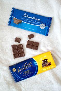 Karl Fazer and Brunberg Finnish Chocolate. Vegan Chocolate, Chocolate Recipes, Food Reviews, Lactose Free, Vegetarian Food, Finland, Bakery, Candy, Homemade