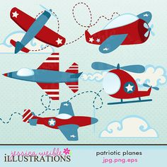 Patriotic Planes Cute Digital Clipart for Card by JWIllustrations, $5.00