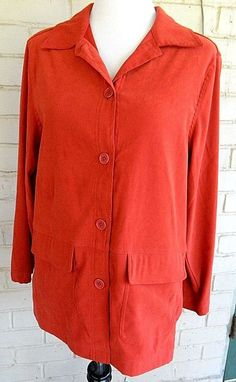 Jessica Holbrook Shirt Jacket Coat Long Sleeve Button Front Red S #JessicaHolbrook #BasicJacket #Casual