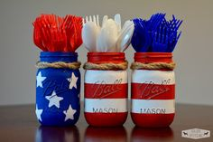 How adorable are these 4th of July mason jars?? They were made by GoldenUpcycling on Etsy (you can buy these) or you could totally make them yourself! I love how she twisted twine around the tops of the jars and added red, white, and blue silverware. Make sure you arrange the jars with the blue …
