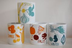 4 Seasons Cup Set by claudiagpearson on Etsy, $56.00