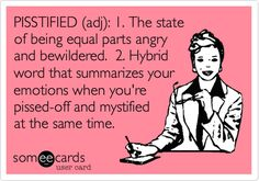 PISSTIFIED (adj): 1. The state of being equal parts angry and bewildered. 2. Hybrid word that summarizes your emotions when youre pissed-off and mystified at the same time. I've been this!