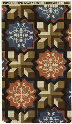 """design-is-fine: """" The Peterson's magazine, Geometric design for embroidery. Cross Stitch Embroidery, Cross Stitch Patterns, Textile Patterns, Rugs On Carpet, Carpets, Letterpress, Cover Art, Needlepoint, Wall Art Prints"""