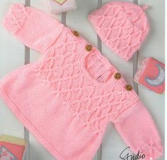 Knit Baby Smock with Buttons and Hat  Pattern Newborn to 4 years knitting pullover hat beanie clothes jumper pdf digital download