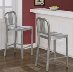 Contemporary Two-Piece Counter Stools Contoured Seat Powdercoated Silvertone New
