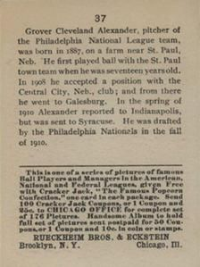 1915 Cracker Jack (E145) #37 Grover Cleveland Alexander Back