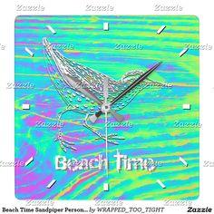 Beach Time Sandpiper Personalize Square Wall Clock