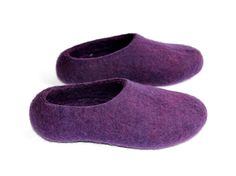 Women house shoes - Acai Purple Felt Slippers - Gift for Her - Rubber Soled Slippers - House Shoes / Clogs - Color Trends 2015