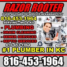 KANSAS CITY DRAIN CLEANING 816-453-1964 RAZOR ROOTER : KANSAS CITY PLUMBER 816-453-1964 RAZOR ROOTER    KANSAS CITY DRAIN CLEANING 816-453-1964 RAZOR ROOTER      Razor Rooter  3014 Northeast Excelsior Street  Kansas City, MO 64117  816-453-1964  www.razorrooterinc.com    Razor Rooter Plumbing specialises in plumbing, drain cleaning and septic services in Kansas City, Mo and Kansas City KS.    KANSAS CITY PLUMBER 816-453-1964 | vossmarketing