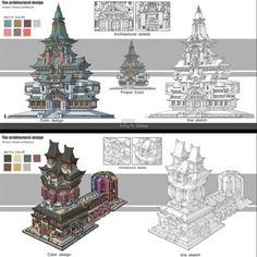The architectural design, G liulian on ArtStation at https://www.artstation.com/artwork/Y4zqY