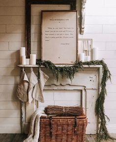 Image may contain: plant Cottage Christmas, Cozy Christmas, Simple Christmas, White Christmas, Christmas Holidays, Christmas Decorations, Holiday Decor, Farmhouse Decor, White Farmhouse