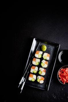 Sushi on Behance Sushi Recipes, Vegetarian Recipes, Sushi Co, Sushi Dishes, Food Flatlay, Food Photography Tips, Photography Filters, Sushi Party, Taiwanese Cuisine