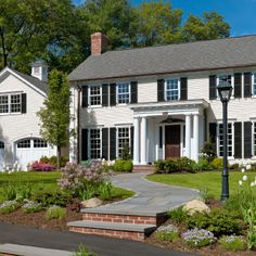 Exterior design colonial and nice on pinterest for Home exterior makeover app