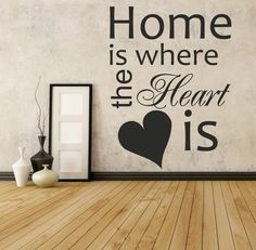 HOME IS WHERE THE HEART IS  | Wall sticker art quote | kitchen bedroom gift WQ46