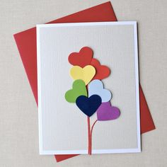 Love is in the air, rainbow heart balloon, blank card. Valentines, anniversary, love, birthday. $6