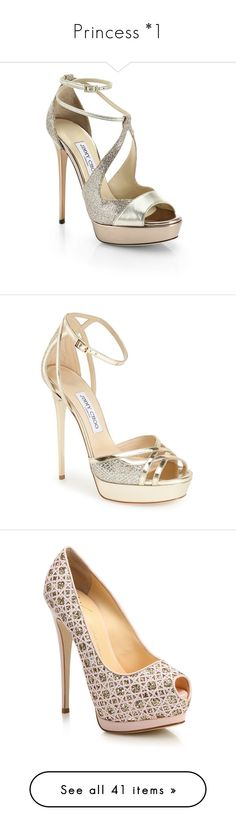 """Princess *1"" by vani-624 ❤ liked on Polyvore featuring shoes, sandals, heels, sapatos, jimmy choo, apparel & accessories, light gold, heeled sandals, high heel shoes and high heel sandals"