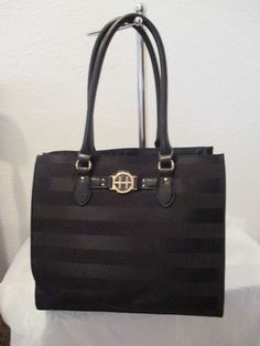 Bag Tommy Hilfiger Handbags Tote 69310000 009 Color Black Gold Retail $99.00 #TommyHilfiger #TotesShoppers