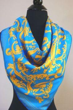 Authentic-Womens-Loewe-Madrid-Baroque-Blue-Gold-Silk-Scarf-Versace