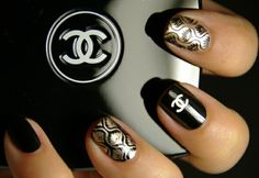 #Nails #Chanel Black, white and gold. Subtle yet dramatic
