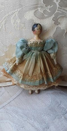 1830s Grodnertal Peg wooden doll from dollyweatherwax on Ruby Lane