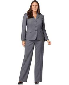 Nine West Plus Size Suit, Pinstriped Jacket & ...