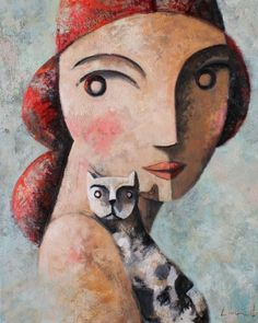 portrait with cat by Didier Lourenco