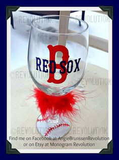 Boston Red Sox Inspired Wine Glass with by MonogramRevolution, $12.00