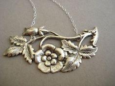 Vintage Magnolia Flower Necklace in sterling silver $15.00