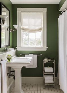 Green Bathroom with Modern and Cool Design Ideas green black white bathroom ideas Related Post Simple Small Bathroom Decor Brings The Ease Inside. Green Bathroom Colors, Bathroom Paint Colors, Green Bathroom Decor, Bathroom Interior, Painting A Bathroom, Dark Green Bathrooms, Dark Green Rooms, Bathroom Color Schemes, White Bathrooms
